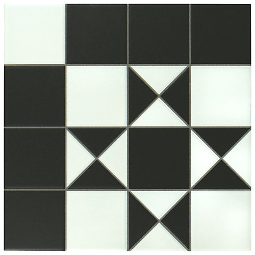 Bristol Black 9-3/4-inch x 9-3/4-inch Porcelain Floor and Wall Tile (10.76 sq. ft. / case)