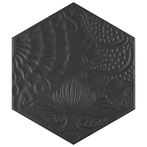 Gaudi Hex Black 8-5/8-inch x 9-7/8-inch Porcelain Floor and Wall Tile (11.56 sq. ft. / case)