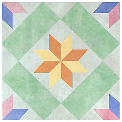 Merola Tile New Star Green 9-3/4-inch x 9-3/4-inch Porcelain Floor and Wall Tile (11.11 sq. ft. / case)