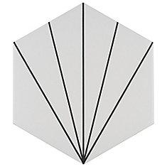Carreau mur et sol hex en porcelaine 8 5/8 po x 9 7/8 po Aster, Blanco (11,56 pi2/bte)