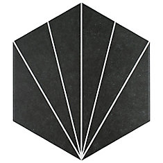 Aster Hex Nero 8-5/8-inch x 9-7/8-inch Porcelain Floor and Wall Tile (11.56 sq. ft. / case)