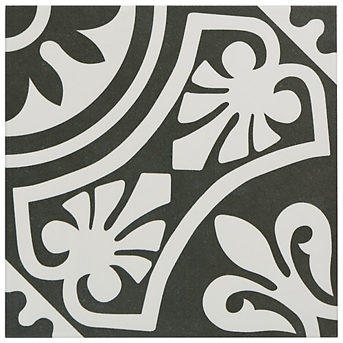 Majestic Tiena Black 9-3/4-inch x 9-3/4-inch Porcelain Floor and Wall Tile (10.76 sq. ft. / case)