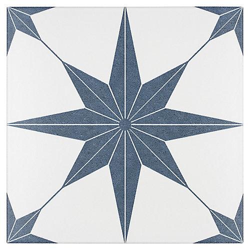 Carreau mur et sol hex en porcelaine 9 3/4 po x 9 3/4 po Stella, Azul (11,11 pi2/bte)