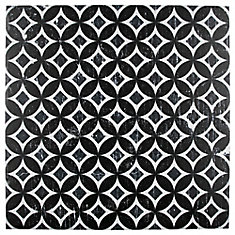 Dalia Nero Deco Astro 12-1/8-inch x 12-1/8-inch Porcelain Floor and Wall Tile (15.95 sq. ft. / case)