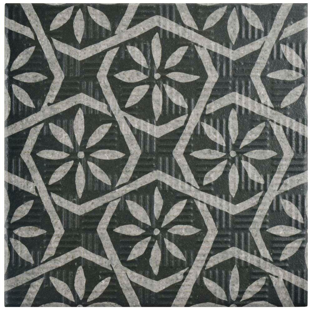 Merola Tile Area 15 Botanic Black 6-inch x 6-inch Porcelain Floor and Wall Tile (11.94 sq. ft. / case)