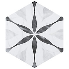 Classico Bardiglio Hexagon Flower 7-inch x 8-inch Porcelain Floor and Wall Tile(7.67 sq. ft. / case)