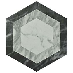 Merola Tile Classico Bardiglio Hexagon Geo 7 in. x 8 in. Porcelain Floor and Wall Tile (7.67 sq. ft. / case)