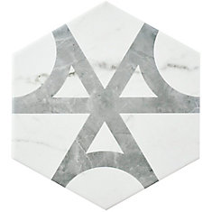 Classico Carrara Hexagon Flow 7-inch x 8-inch Porcelain Floor and Wall Tile (10.74 sq. ft. / case)