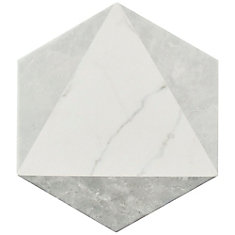 Classico Carrara Hexagon Peak 7-inch x 8-inch Porcelain Floor and Wall Tile (7.67 sq. ft. / case)