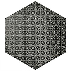 Coralstone Hexagon Melange Black 10-inch x 11-1/2-inch Porcelain Floor and Wall Tile(11.21 sqft/ca)