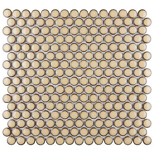 Merola Tile Hudson Penny Round Caffe 12-inch x 12-5/8-inch x 5 mm Porcelain Mosaic Tile (10.74 sq. ft. / case)