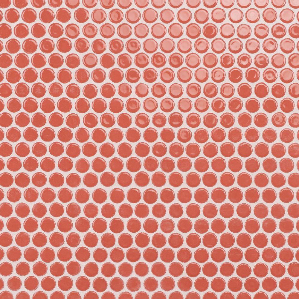 Merola Tile Hudson Penny Round Vermilio 12-inch x 12-5/8-inch x 5 mm Porcelain Mosaic Tile (10.74 sq. ft. / case)