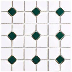 Merola Tile Oxford Matte White w/ Green Dot 11-1/2-inch x 11-1/2-inch x 6mm Porcelain Mosaic Tile(9.38 sq ft/ca)