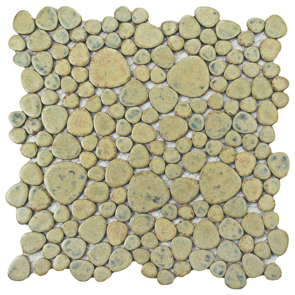 Merola Tile Pebble Green Moss 11-inch x 11-inch x 6 mm Porcelain Mosaic Tile (8.4 sq. ft. / case)