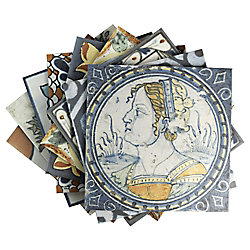 Merola Tile Antique Azul Mix 12-3/8-inch x 12-3/8-inch Ceramic Floor and Wall Tile (11.07 sq. ft. / case)