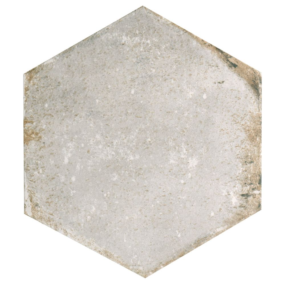 Merola Tile D'Anticatto Hex Bianco 11-inch x 12-5/8-inch Porcelain Floor and Wall Tile (11.22 sq. ft. / case)