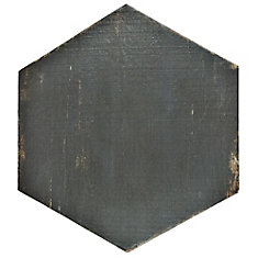 Retro Hex Nero 14-1/8-inch x 16-1/4-inch Porcelain Floor and Wall Tile (11.05 sq. ft. / case)