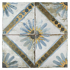 Kings Marrakech Blue 17-5/8-inch x 17-5/8-inch Ceramic Floor and Wall Tile (11.02 sq. ft. / case)