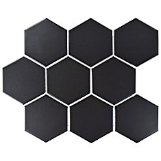 Metro Super Hex Matte Black 10-7/8-inch x 11-3/8-inch x 6 mm Porcelain Mosaic Tile (8.78 sqft/case)