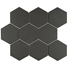 Gotham Super Hex Black 10-inch x 11-3/8-inch x 6 mm Unglazed Porcelain Mosaic Tile (8.09 sqft/case)