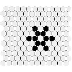 Merola Tile Metro Hex Glossy White w Black Snowflake 10-1/4-inch x 11-3/4-inch x5mm Porcelain Mosaic(8.56 sf/ca)