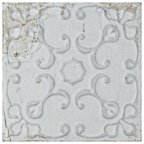 Aevum White Ornato 7 7/8-inch x 7 7/8-inch Ceramic Wall Tile (9.63 sq. ft. / case)