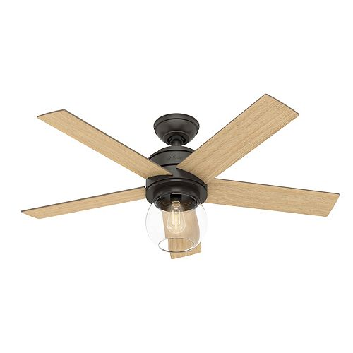 Hunter Leander 46 inch LED Indoor Noble Bronze Ceiling Fan with Light Kit and Handheld Remote Control