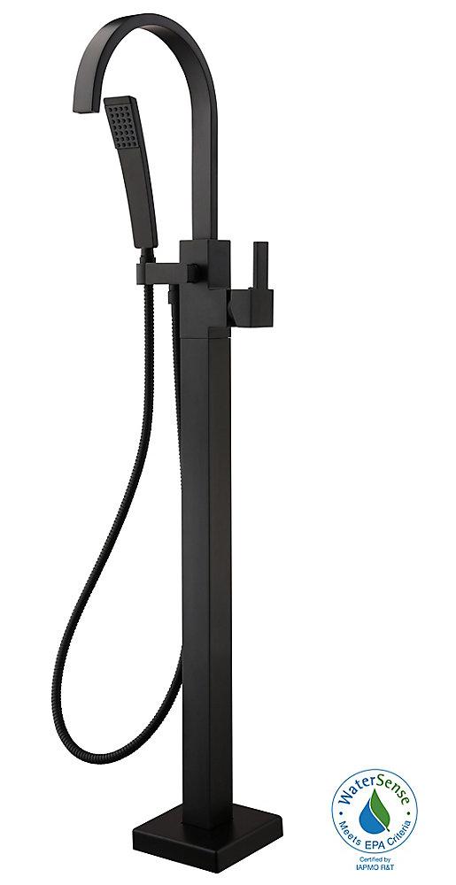 Farrington Single-Handle Freestanding Floor Mount Tub Faucet with HandHeld HandShower in Matte Black