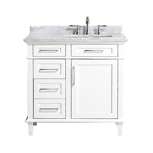 Sonoma 36-inch Single Sink Vanity in White with Carrara Marble Top