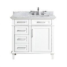 Salle de bain avec le meuble-lavabo Sonoma, Blanc, 36 po