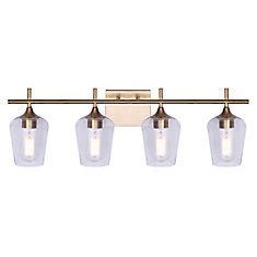 Home Decorators Collection GABRIELLE 4-light gold vanity with clear glass shades