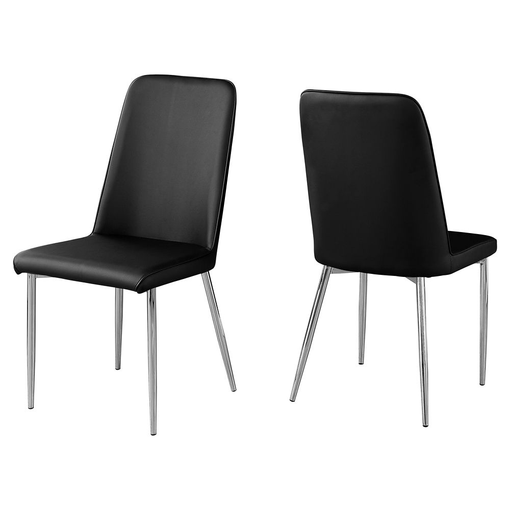Monarch Specialties Dining Chair - 2Pcs 37-inch H Black Leather-Look Chrome