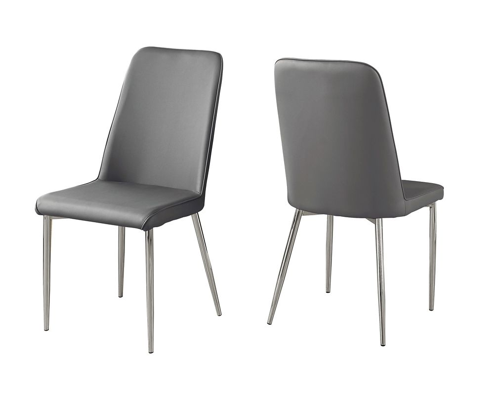 Monarch Specialties Dining Chair - 2Pcs 37-inch H Grey Leather-Look Chrome