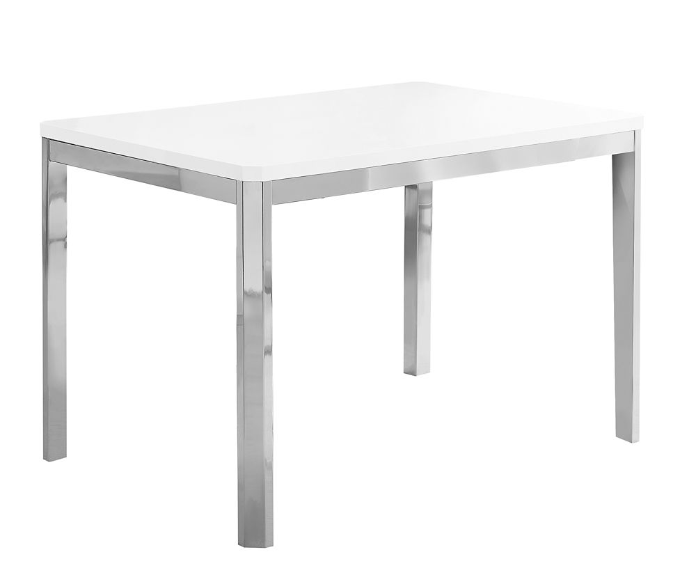 Monarch Specialties Dining Table - 32-inch X 48-inch White Chrome Metal