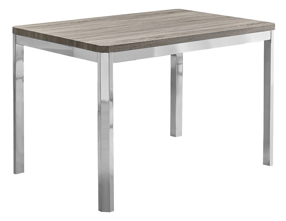 Monarch Specialties Dining Table - 32-inch X 48-inch Dark Taupe Chrome Metal
