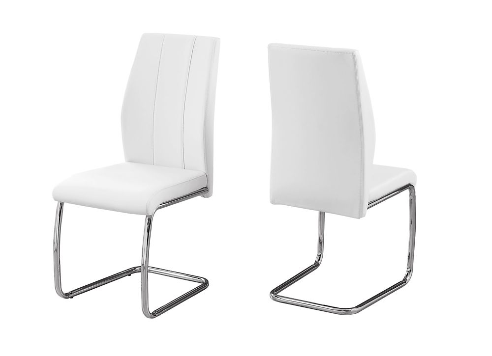 Monarch Specialties Dining Chair - 2Pcs 39-inch H White Leather-Look Chrome