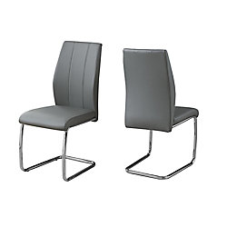 Monarch Specialties Dining Chair - 39-inch H Grey Leather-Look Chrome (Set of 2)