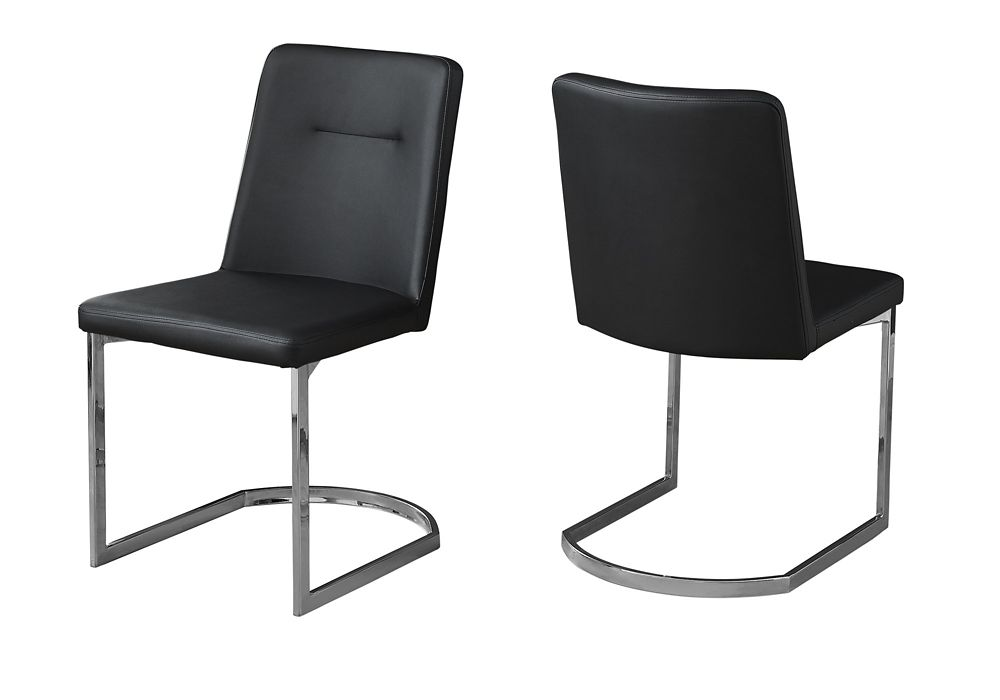 Monarch Specialties Dining Chair - 34-inch H Black Leather-Look Chrome (Set of 2)