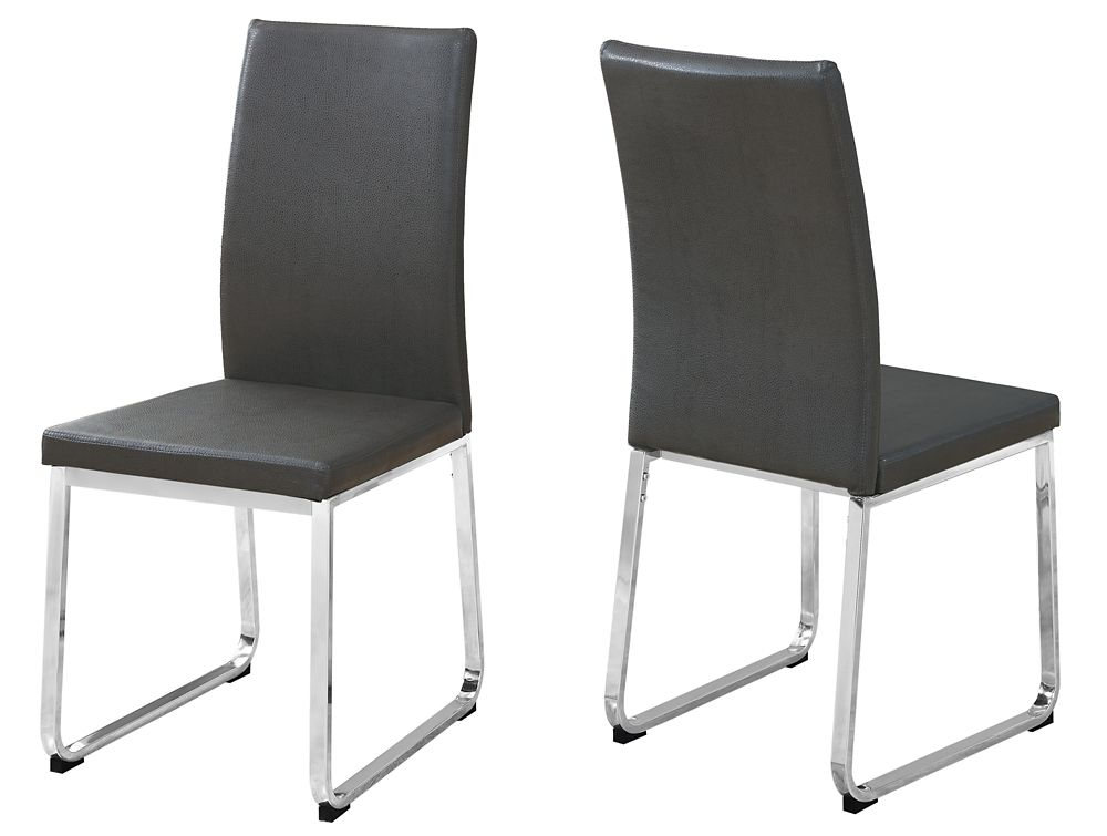 Monarch Specialties Dining Chair - 2Pcs 38-inch H Grey Leather-Look Chrome