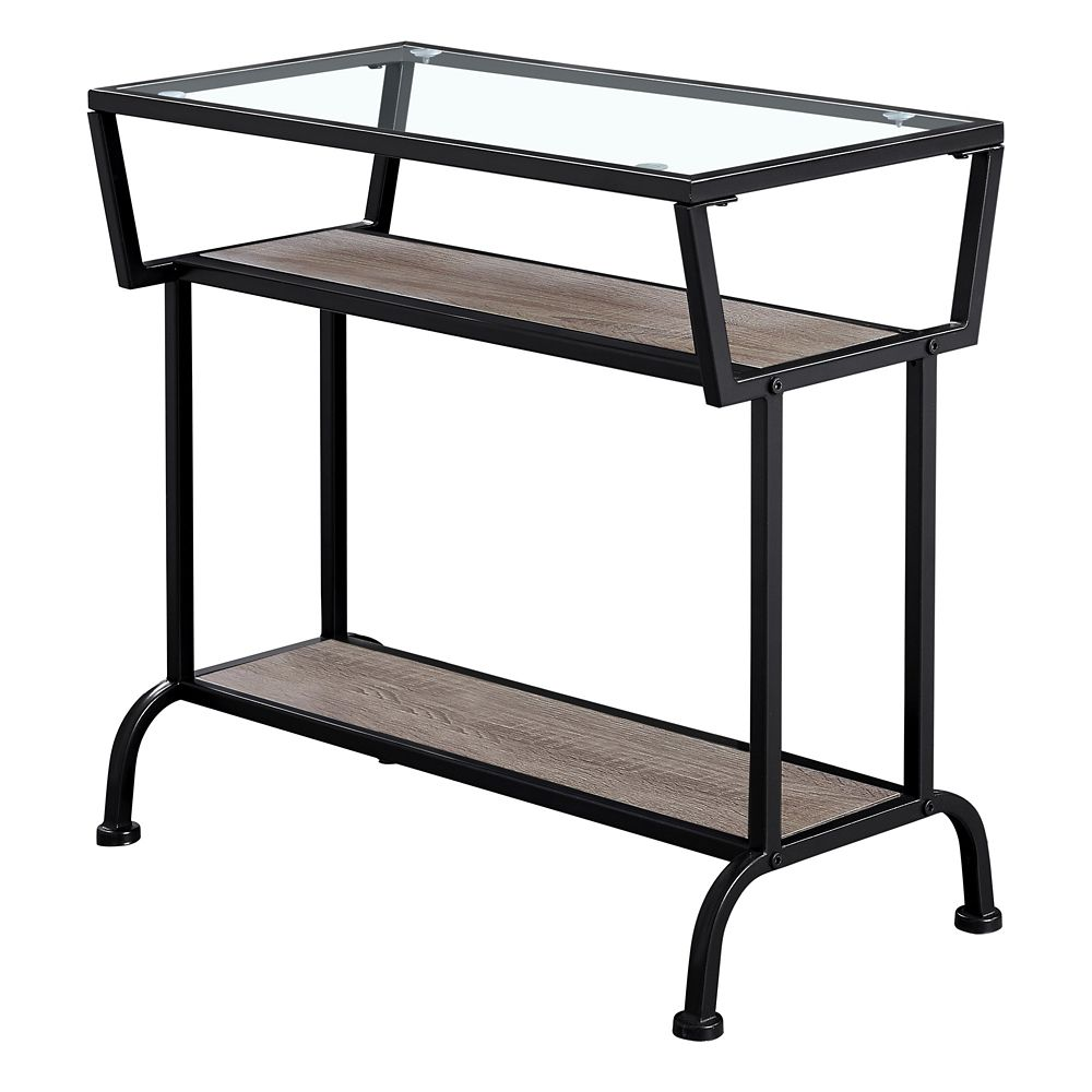 Monarch Specialties Accent Table - 22-inch H Dark TaupeBlackTempered Glass