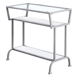 Monarch Specialties Accent Table - 22-inch H White Silver Tempered Glass
