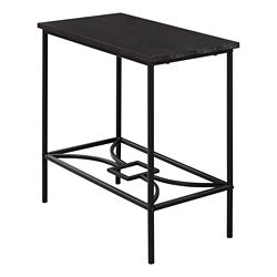 Monarch Specialties Accent Table - 22-inch H Cappuccino Black Metal