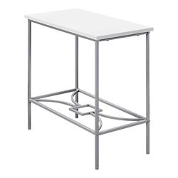 Monarch Specialties Accent Table - 22-inch H White Silver Metal