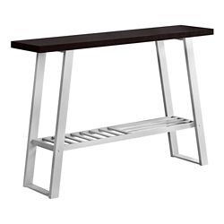 Monarch Specialties Accent Table - 48-inch L Cappuccino Silver Hall Console