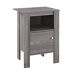 Monarch Specialties Accent Table - Grey Night Stand With Storage
