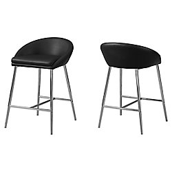 Monarch Specialties Barstool Black Chrome Base Counter Height (Set of 2)