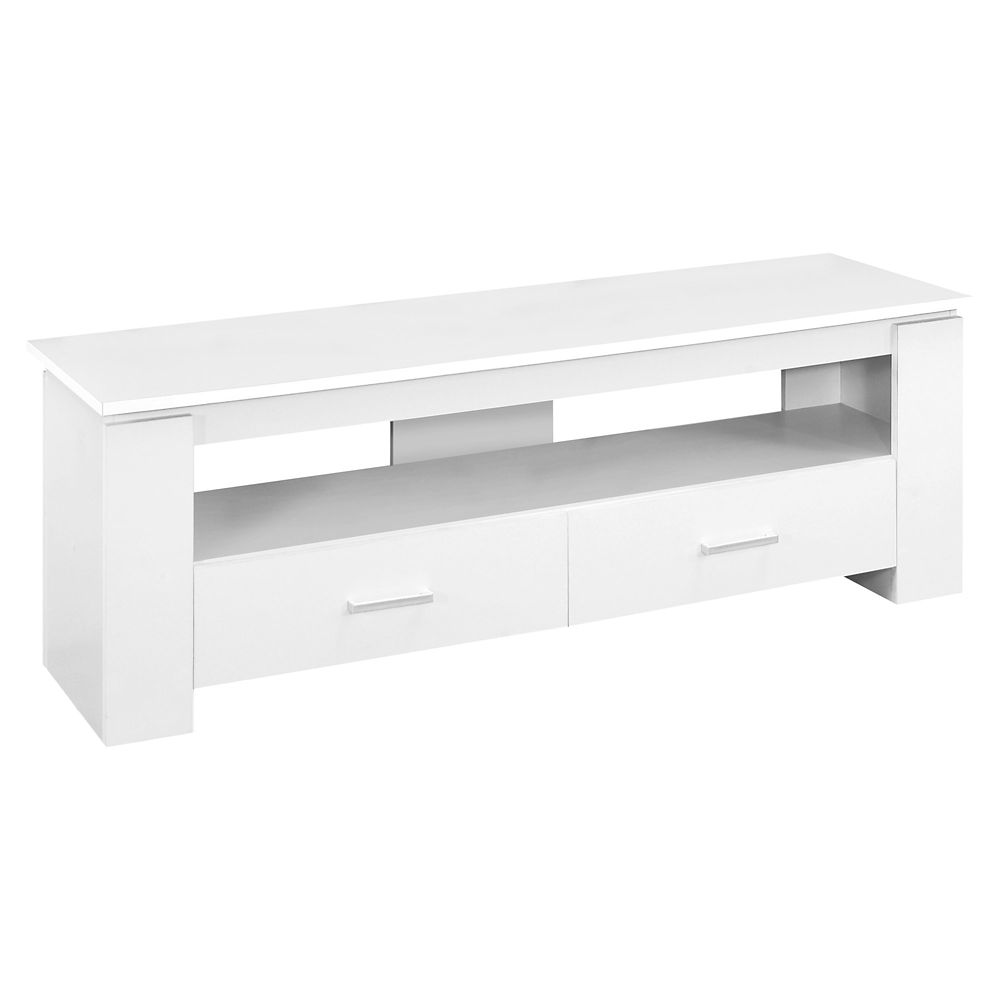 Monarch Specialties Tv Stand - 48-inch LWhite With 2 Storage Drawers