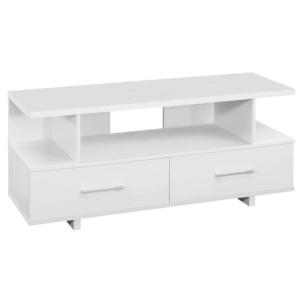 Monarch Specialties Tv Stand - 48-inch L White With 2 Storage Drawers