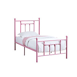 Monarch Specialties Bed - Twin SizePink Metal Frame Only