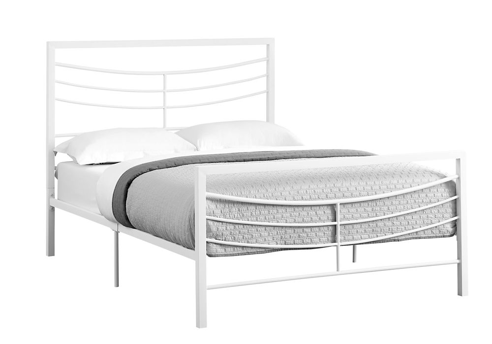 Monarch Specialties Bed - Full Size White Metal Frame Only